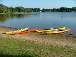 Kayaks at Stone Lake Beach